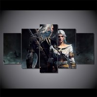 5Pcs The Witcher Geralt And Ciri Home Decor Wall Picture Printed Canvas Painting