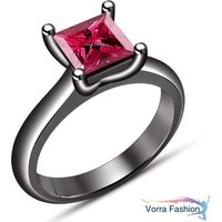 Solitaire Wedding Ring Black Gold Finish 925 Silver Princess Cut Pink Sapphire