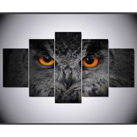 Black Owl eyes painting  5 Piece Canvas Art Wall Art Picture Home Decor