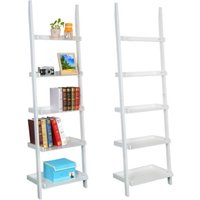 white-5-tier-leaning-ladder-shelf-bookshelf-bookcase-storage-shelves-unit