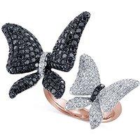 Celebrity Mariah Carey 925 Silver White GP Sim Diamond Butterfly Ring Free Ship