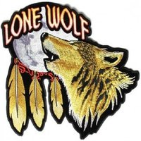 "(L23) Large LONE WOLF HOWLING MOON 12"" x 12"" iron on back patch (3968)"