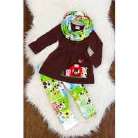Farm Friends Farmer Girl's Boutique Outfit with FREE matching scarf!