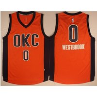 Oklahoma City Thunder 0# Russell Westbrook Orange Basketball Jersey
