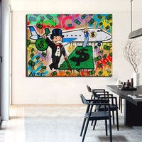 New Fashion Fly Alec Monopoly Graffiti Arts Print Canvas Oil Painting 70x90cm