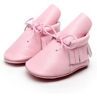 Pink Color Walking Shoes Genuine Leather Girls First Toddler Shoes ZH0059