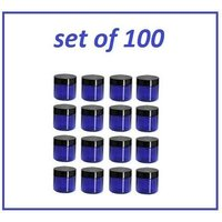 100 pc 1 oz Cobalt Blue Plastic Jars with Black Lids