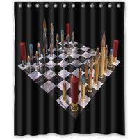 The Bullet Chess Pattern Shower Curtain curtains Set Bathrom Decor