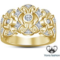 Women's Engagement Band Ring 10K Yellow Gold Plated 925 Sterling Silver White CZ