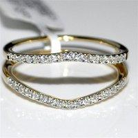 14K Yellow Gold Finish 1Ctw Round Sim. Diamond Wrap Wedding Band Ring For Womens