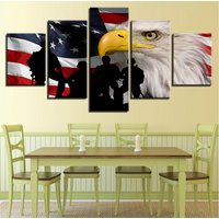 5Pcs American Flag Soldier Animal Eagle Canvas Print Painting Wall Art Home Déco
