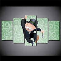 5 Pcs Alec Monopoly Money Wall Picture Home Decor Printed Canvas Painting
