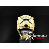 Men's 14K Yellow Gold Finish Green Emerald & Simulated Diamond Tiger Ring