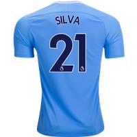 All New David Silva #21 Manchester City Home 17/18 Men Soccer Jersey + Epl Badge