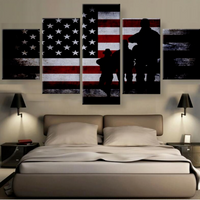 Veterans Pride Military Silhouette With Flag  5 Pcs Canvas Wall Art Home Decor