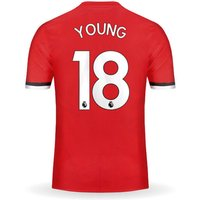 Ashley YOUNG #18 Manchester United Home 17/18 Men Soccer Jersey + EPL Patches