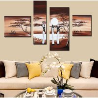 4 Pcs African Tribal Women Wall Art Hand Painted Canvas Oil Painting Unframed
