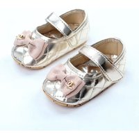 Gold Bowknot Baby Girls Dress Shoes Princess Toddler Shoes 0983