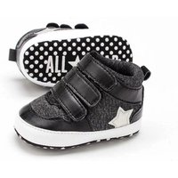 Free Shipping Black Baby Boys Toddler Shoes Soft Bottom Room Shoes 1046