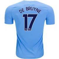 All New De Bruyne #17 Manchester City Home 17/18 Men Soccer Jersey + Epl Badge
