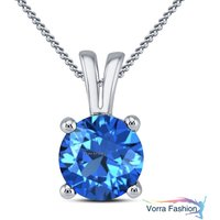 Blue Topaz Round Cut White Gold Plated Pure 925 Silver Solitaire Women's Pendant