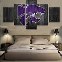 5 Panels Kansas State Wildcats Team Printed Canvas Wall Art Picture Home Decor