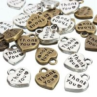 1000 Pack - Antique Heart Shape Thank You Pendant Charms - Silver Bronze