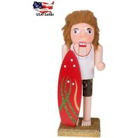 New 10 Tall Wooden Christmas Nutcracker By Clever Creations Red Surfer Board