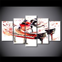 5 Pcs Abstract Piano Couple Dance Wall Picture Home Decor Canvas Oil Painting