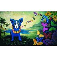 Original Art Oil Painting Print On Canvas George Rodrigue Blue Dog  12x20