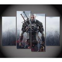 4 Pcs Witchers 3 Geralt Armor Wall Pictures Home Decor Printed Canvas Painting