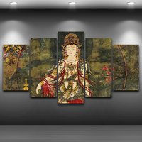 5 Pcs Water&Moon GuanYin Home Decor Wall Picture Printed Canvas Painting