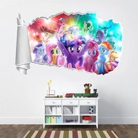 My little Pony Movie 3D Torn Hole Ripped Wall Sticker Decal Home Decor Art WT416