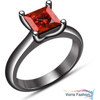Black Gold Finish 925 Silver Princess Cut Red Garnet Solitaire Engagement Ring