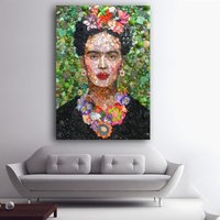 1 Pcs Wearing Flowers Frida Kahlo Wall Picture Canvas Painting 24x36inch