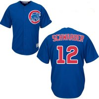 12 Kyle Schwarber - Kids Chicago Cubs Blue 2017 Champions Gold Program Jerseys