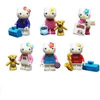 6 pcs Hello Kitty Building Blocks Toys Small Cute Cat Action Figures Fit Lego