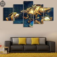 5 Pcs Overwatch Reinhardt Game Poster Wall Picture Printed Canvas Painting