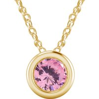 1 Ct Pink Sapphire Solitaire Bezel Style Pendant W/18