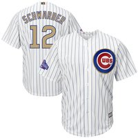 12 Kyle Schwarber - Kids Chicago Cubs White 2017 Champions Gold Program Jerseys