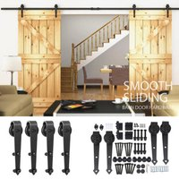 6ft8ft12ft-antique-wood-sliding-barn-door-hardware-set-track-closet-kitchen