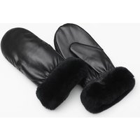 Image of Genuine Leather Mittens with Faux Fur Cuffs - 2 Colours