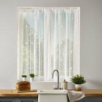 Zen Lace Net Slot Top Curtain Fabric White
