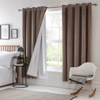 Blackout Eyelet Curtain Linings White and Brown