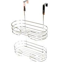image-Bathroom Basics Two Tier Over Door Caddy Silver