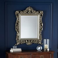 image-Bevelled Ornate Frame Wall Mirror 84x64cm Gold Silver
