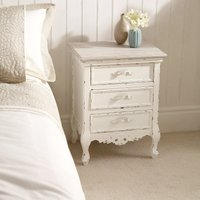 image-Camille Ivory 3 Drawer Bedside Table Cream