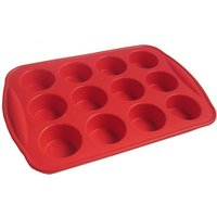 image-Silicone 12 Hole Bun Sheet Red