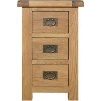 Aylesbury Oak Wide 3 Drawer Bedside Table Light Brown / Natural