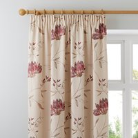 Amelia Red Pencil Pleat Curtains Red and Beige